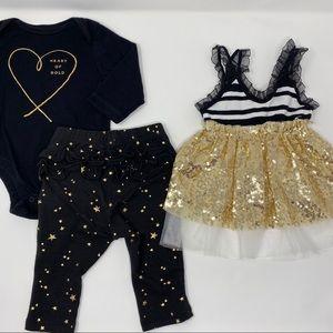 Baby Girl 3-Item Black & Gold Matching Bundle Set